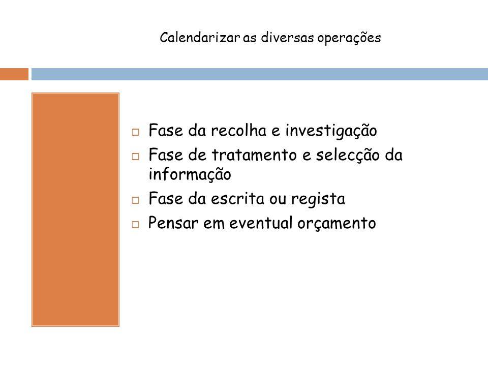 Calendarizar as diversas operações Fase da recolha e investigação Fase de tratamento e selecção da informação Fase da escrita ou regista Pensar em eventual orçamento