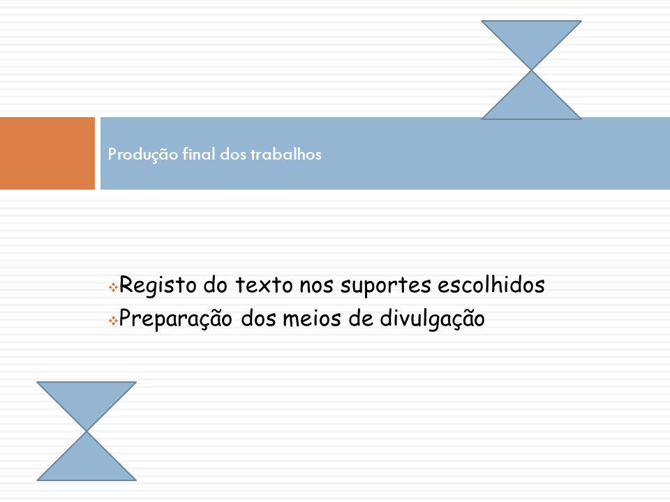 Registo do texto nos suportes escolhidos Preparação dos meios de divulgação Produção final dos trabalhos