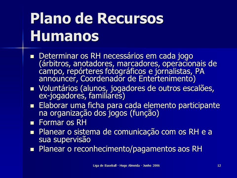 Liga de Baseball - Hugo Almeida - Junho 200612 Plano de Recursos Humanos Determinar os RH necessários em cada jogo (árbitros, anotadores, marcadores,