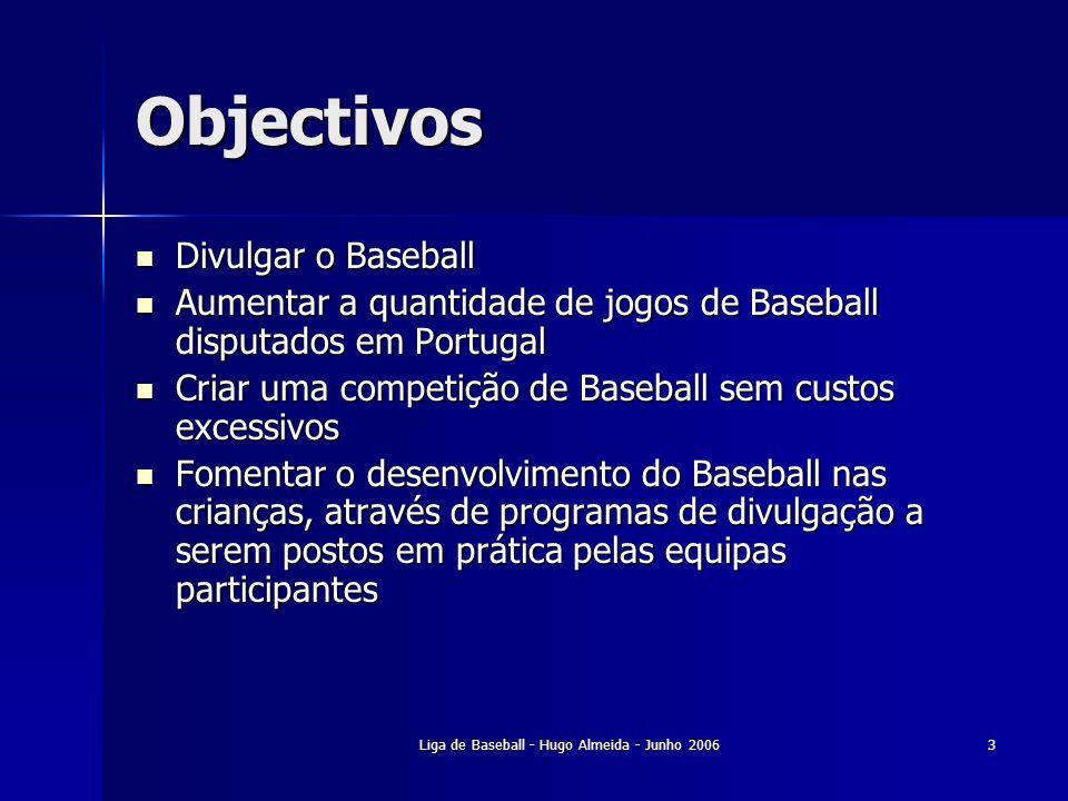 Liga de Baseball - Hugo Almeida - Junho 20064 Destinatários Aberta a todas as equipas de Baseball nacionais e internacionais convidadas pela organização da Liga de Baseball Aberta a todas as equipas de Baseball nacionais e internacionais convidadas pela organização da Liga de Baseball Escolas Escolas