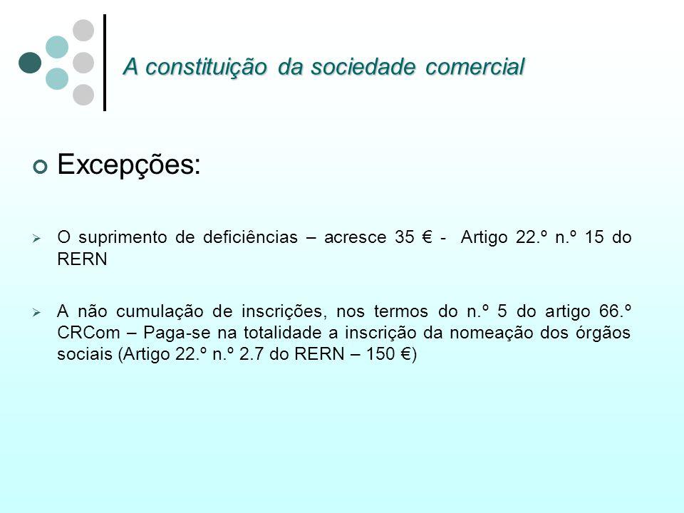 A constituição da sociedade comercial Excepções: O suprimento de deficiências – acresce 35 - Artigo 22.º n.º 15 do RERN A não cumulação de inscrições,