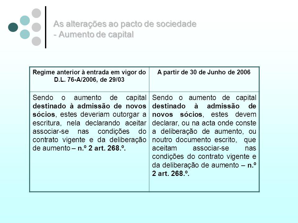 As alterações ao pacto de sociedade - Aumento de capital Regime anterior à entrada em vigor do D.L. 76-A/2006, de 29/03 A partir de 30 de Junho de 200