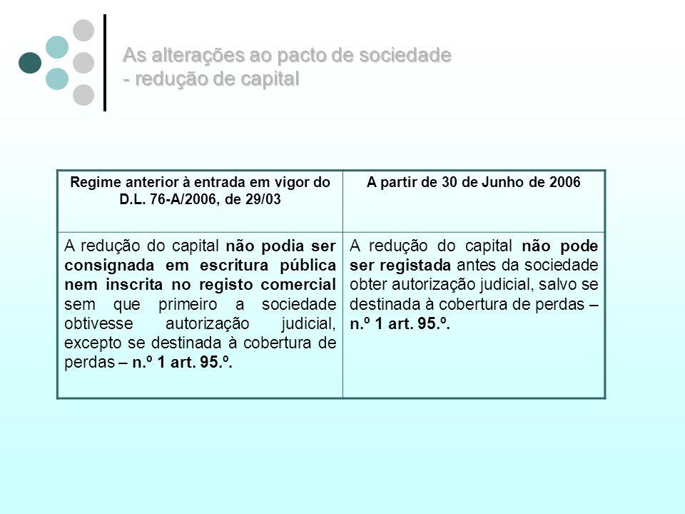 As alterações ao pacto de sociedade - redução de capital Regime anterior à entrada em vigor do D.L. 76-A/2006, de 29/03 A partir de 30 de Junho de 200