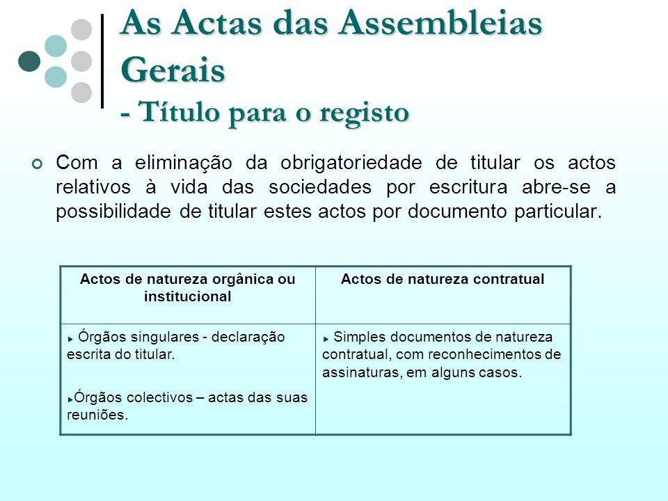 As Actas das Assembleias Gerais - Título para o registo Com a eliminação da obrigatoriedade de titular os actos relativos à vida das sociedades por es