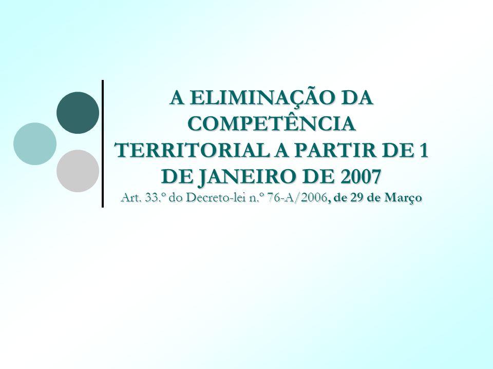 A ELIMINAÇÃO DA COMPETÊNCIA TERRITORIAL A PARTIR DE 1 DE JANEIRO DE 2007 Art. 33.º do Decreto-lei n.º 76-A/2006, de 29 de Março