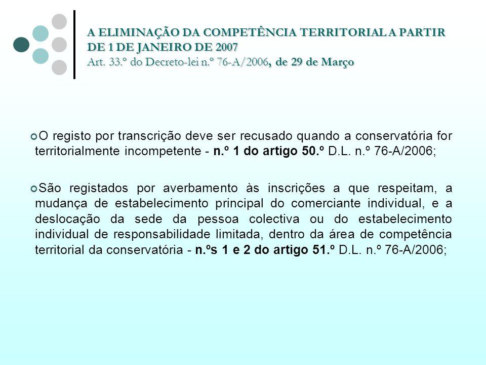 A ELIMINAÇÃO DA COMPETÊNCIA TERRITORIAL A PARTIR DE 1 DE JANEIRO DE 2007 Art. 33.º do Decreto-lei n.º 76-A/2006, de 29 de Março O registo por transcri