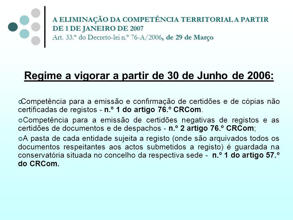 A ELIMINAÇÃO DA COMPETÊNCIA TERRITORIAL A PARTIR DE 1 DE JANEIRO DE 2007 Art. 33.º do Decreto-lei n.º 76-A/2006, de 29 de Março Regime a vigorar a par
