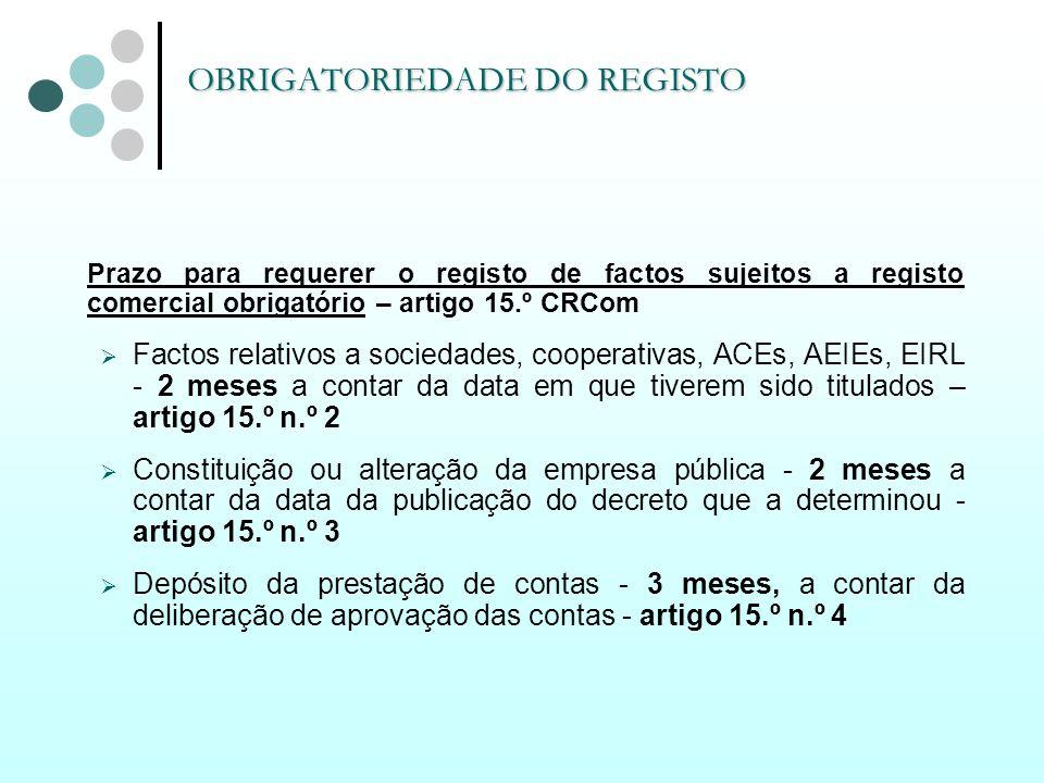Prazo para requerer o registo de factos sujeitos a registo comercial obrigatório – artigo 15.º CRCom Factos relativos a sociedades, cooperativas, ACEs