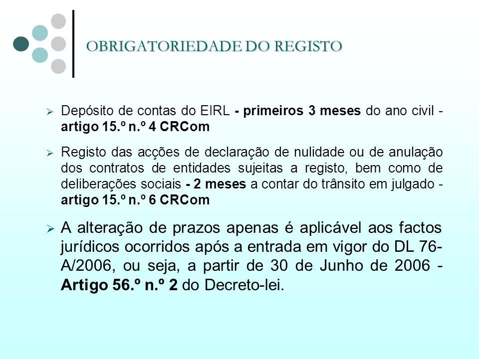 OBRIGATORIEDADE DO REGISTO Depósito de contas do EIRL - primeiros 3 meses do ano civil - artigo 15.º n.º 4 CRCom Registo das acções de declaração de n