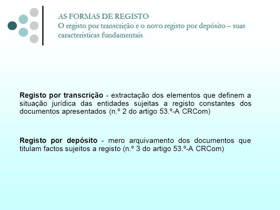 Registo por transcrição - extractação dos elementos que definem a situação jurídica das entidades sujeitas a registo constantes dos documentos apresen