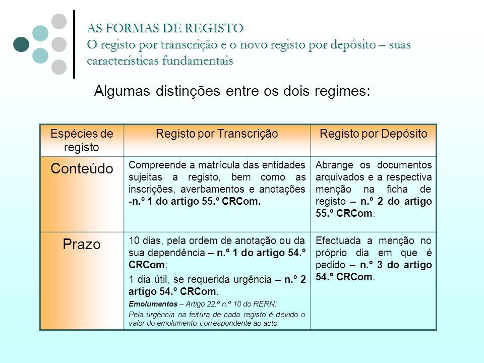 AS FORMAS DE REGISTO O registo por transcrição e o novo registo por depósito – suas características fundamentais Algumas distinções entre os dois regi