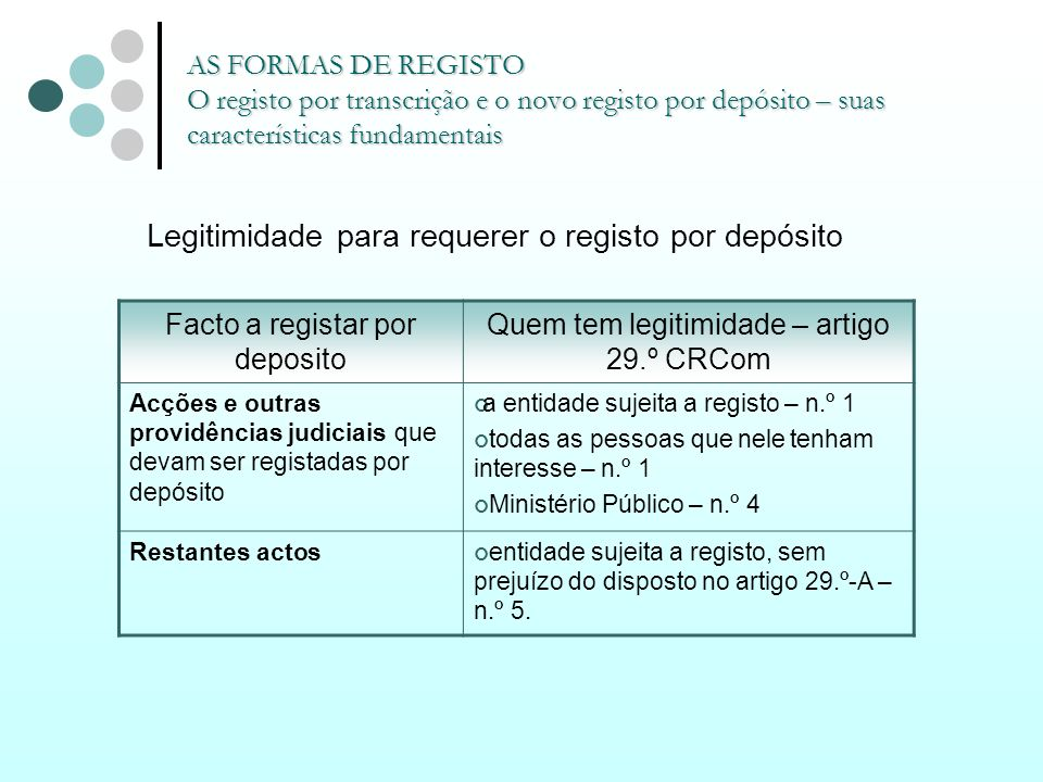 AS FORMAS DE REGISTO O registo por transcrição e o novo registo por depósito – suas características fundamentais Legitimidade para requerer o registo