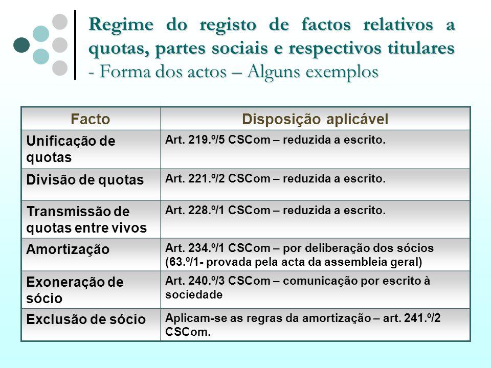Regime do registo de factos relativos a quotas, partes sociais e respectivos titulares - Forma dos actos – Alguns exemplos FactoDisposição aplicável U