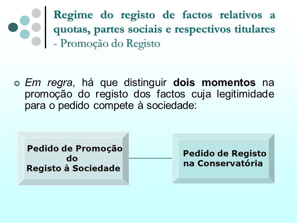 Regime do registo de factos relativos a quotas, partes sociais e respectivos titulares - Promoção do Registo Em regra, há que distinguir dois momentos