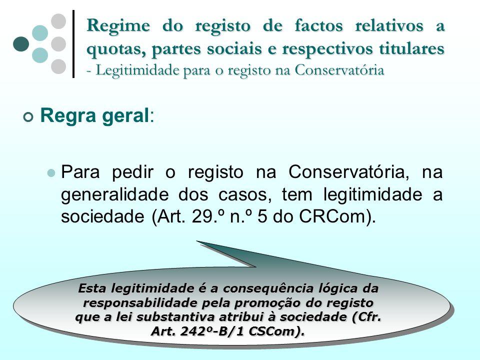 Regime do registo de factos relativos a quotas, partes sociais e respectivos titulares - Legitimidade para o registo na Conservatória Regra geral: Par