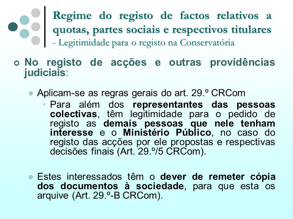 Regime do registo de factos relativos a quotas, partes sociais e respectivos titulares - Legitimidade para o registo na Conservatória No registo de ac