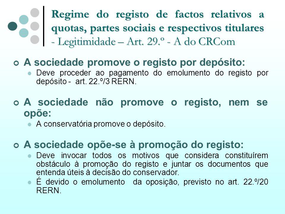 Regime do registo de factos relativos a quotas, partes sociais e respectivos titulares - Legitimidade – Art. 29.º - A do CRCom A sociedade promove o r