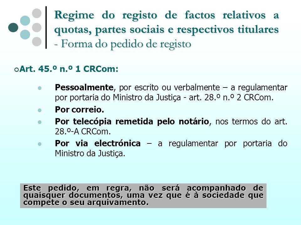 Regime do registo de factos relativos a quotas, partes sociais e respectivos titulares - Forma do pedido de registo Art. 45.º n.º 1 CRCom: Pessoalment