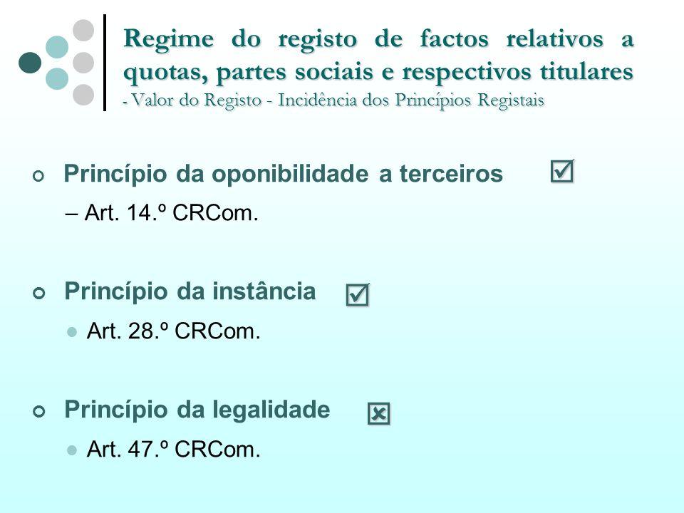 Regime do registo de factos relativos a quotas, partes sociais e respectivos titulares - Valor do Registo - Incidência dos Princípios Registais Princí