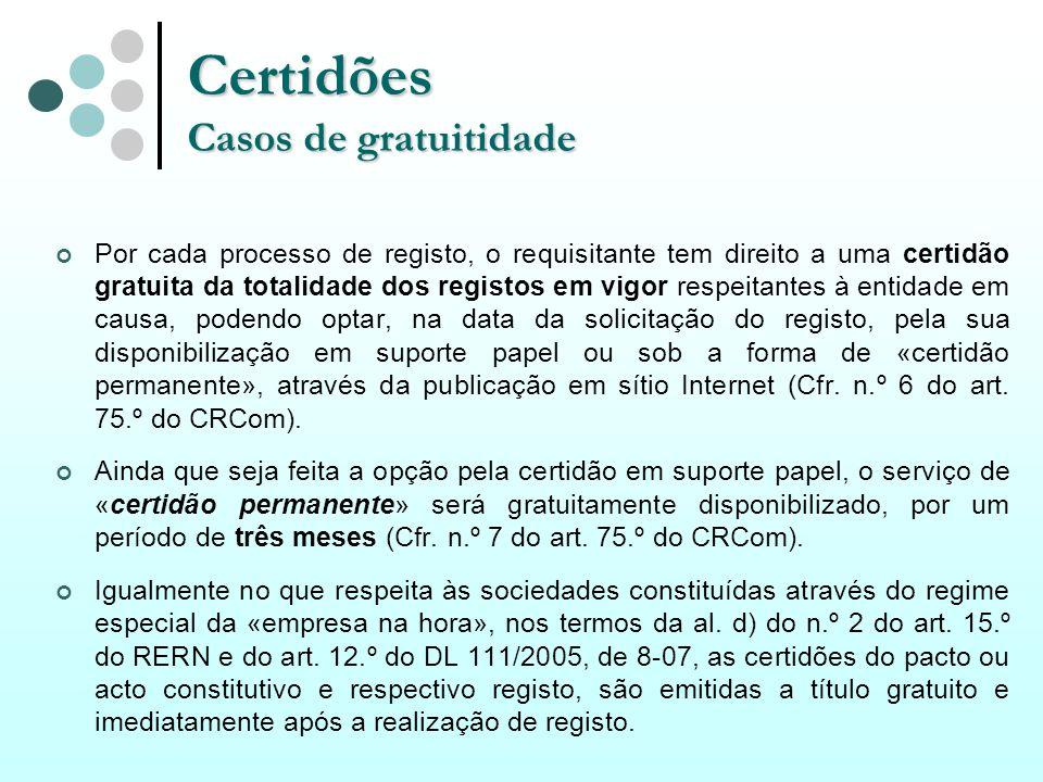 Certidões Casos de gratuitidade Por cada processo de registo, o requisitante tem direito a uma certidão gratuita da totalidade dos registos em vigor r