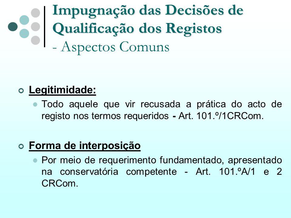 Impugnação das Decisões de Qualificação dos Registos Impugnação das Decisões de Qualificação dos Registos - Aspectos Comuns Legitimidade: Todo aquele