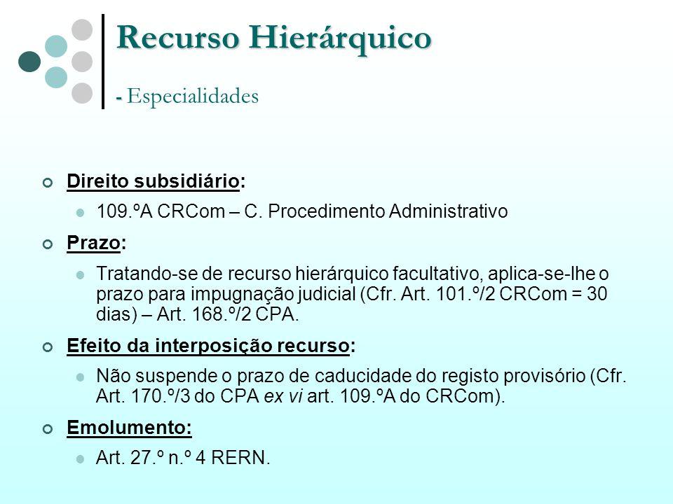 Recurso Hierárquico - Recurso Hierárquico - Especialidades Direito subsidiário: 109.ºA CRCom – C. Procedimento Administrativo Prazo: Tratando-se de re