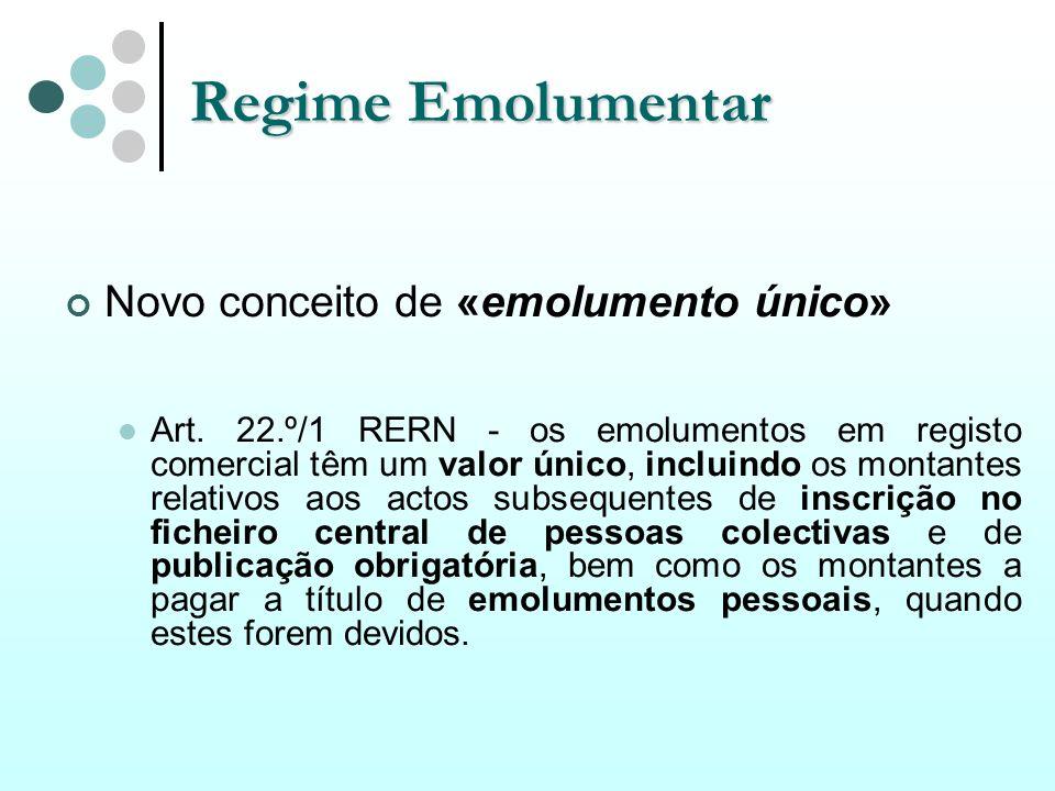 Regime Emolumentar Novo conceito de «emolumento único» Art. 22.º/1 RERN - os emolumentos em registo comercial têm um valor único, incluindo os montant