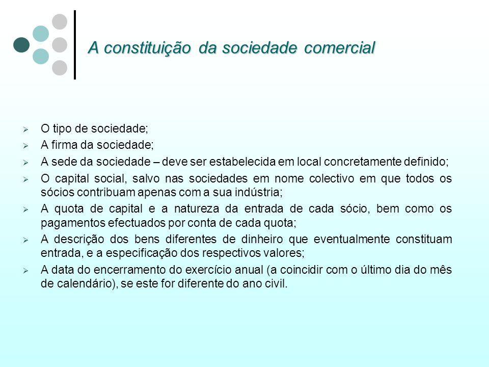 A constituição da sociedade comercial O tipo de sociedade; A firma da sociedade; A sede da sociedade – deve ser estabelecida em local concretamente de