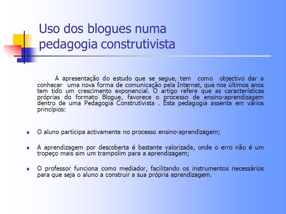 Uso dos blogues numa pedagogia construtivista A apresentação do estudo que se segue, tem como objectivo dar a conhecer uma nova forma de comunicação p