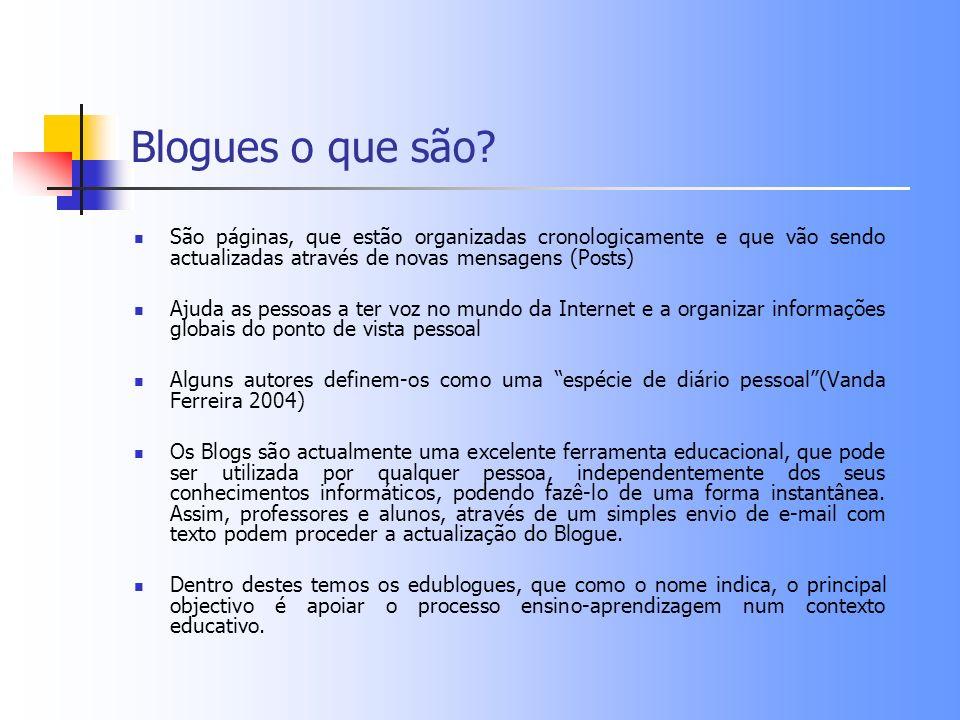 Blogues o que são? São páginas, que estão organizadas cronologicamente e que vão sendo actualizadas através de novas mensagens (Posts) Ajuda as pessoa