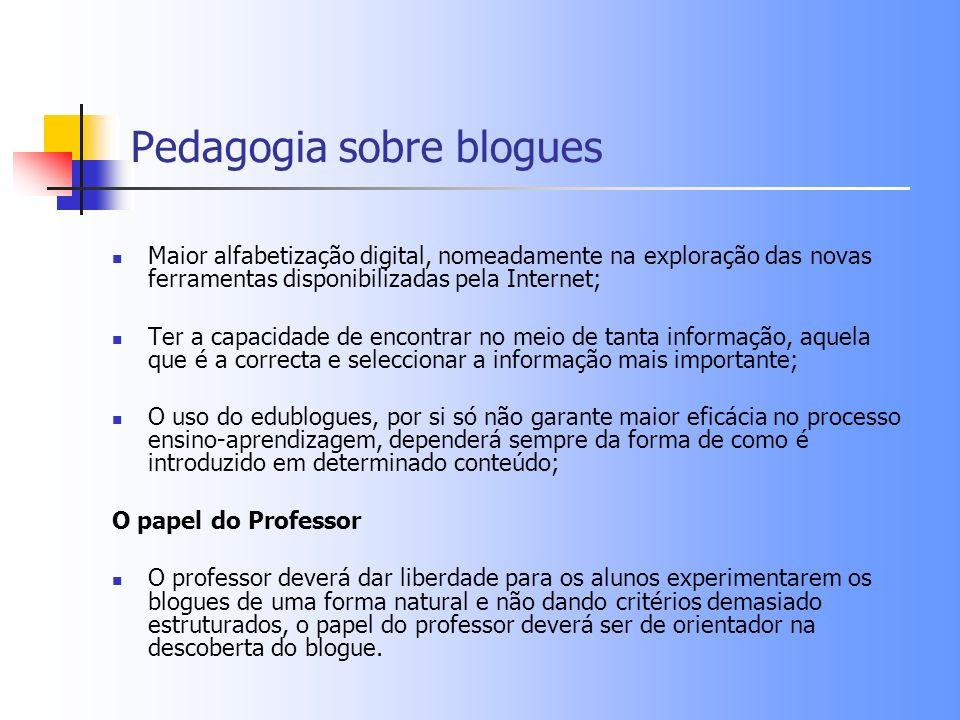Pedagogia sobre blogues Maior alfabetização digital, nomeadamente na exploração das novas ferramentas disponibilizadas pela Internet; Ter a capacidade