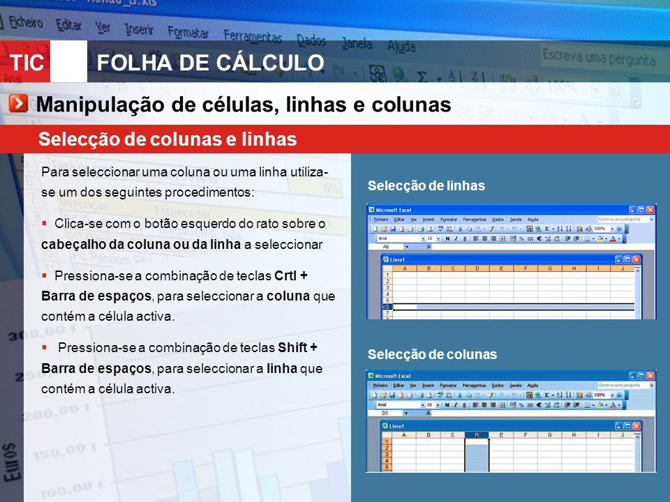 TIC 10FOLHA DE CÁLCULO Manipulação de células, linhas e colunas Selecção de colunas e linhas Para seleccionar uma coluna ou uma linha utiliza- se um d