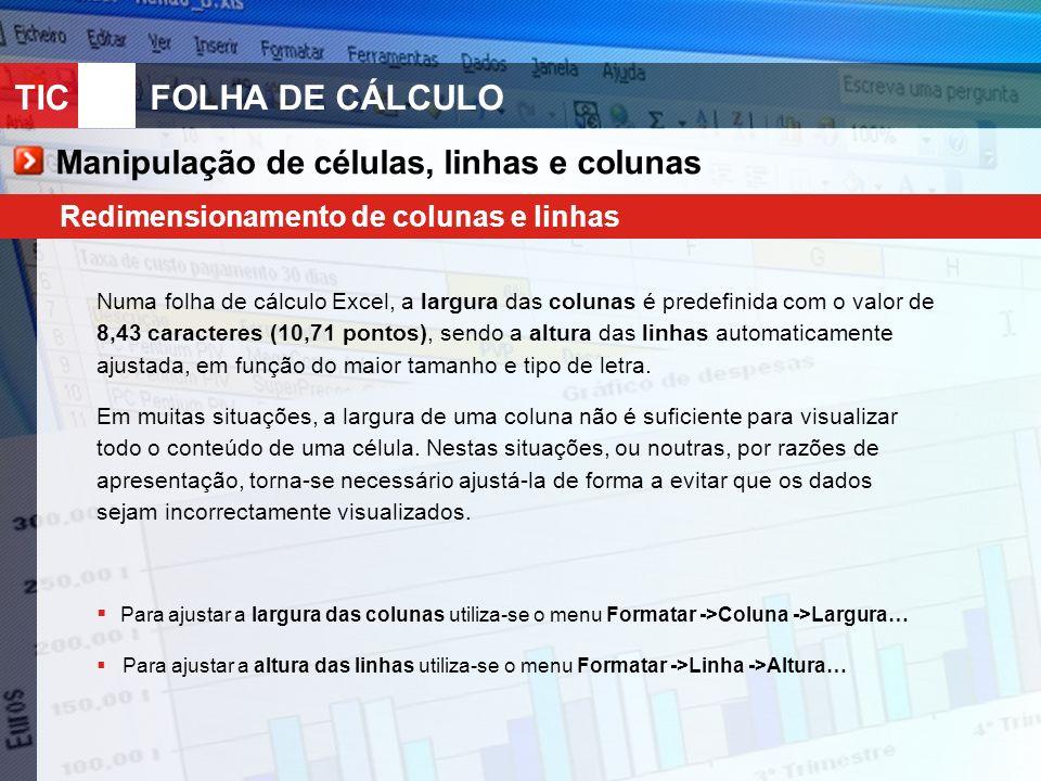 TIC 10FOLHA DE CÁLCULO Manipulação de células, linhas e colunas Redimensionamento de colunas e linhas Numa folha de cálculo Excel, a largura das colun