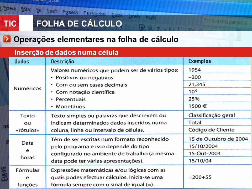 TIC 10FOLHA DE CÁLCULO Operações elementares na folha de cálculo Inserção de dados numa célula