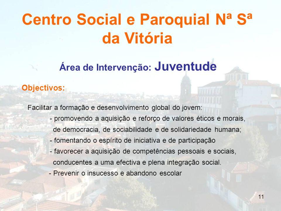 11 Área de Intervenção: Juventude Objectivos: Facilitar a formação e desenvolvimento global do jovem: - promovendo a aquisição e reforço de valores ét