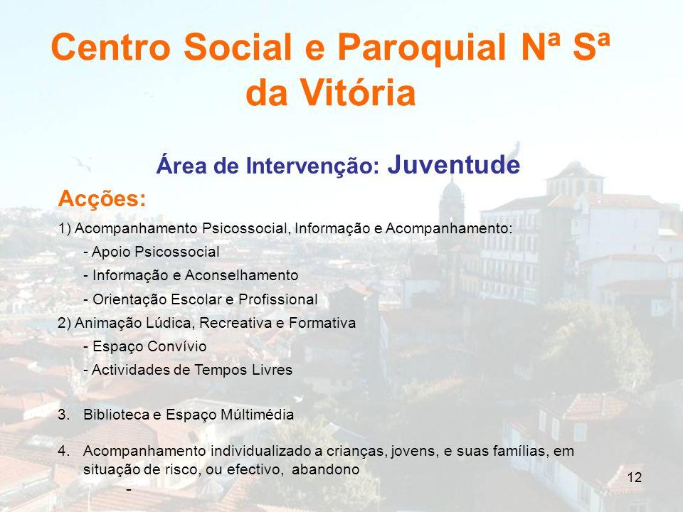 12 Área de Intervenção: Juventude Acções: 1) Acompanhamento Psicossocial, Informação e Acompanhamento: - Apoio Psicossocial - Informação e Aconselhame