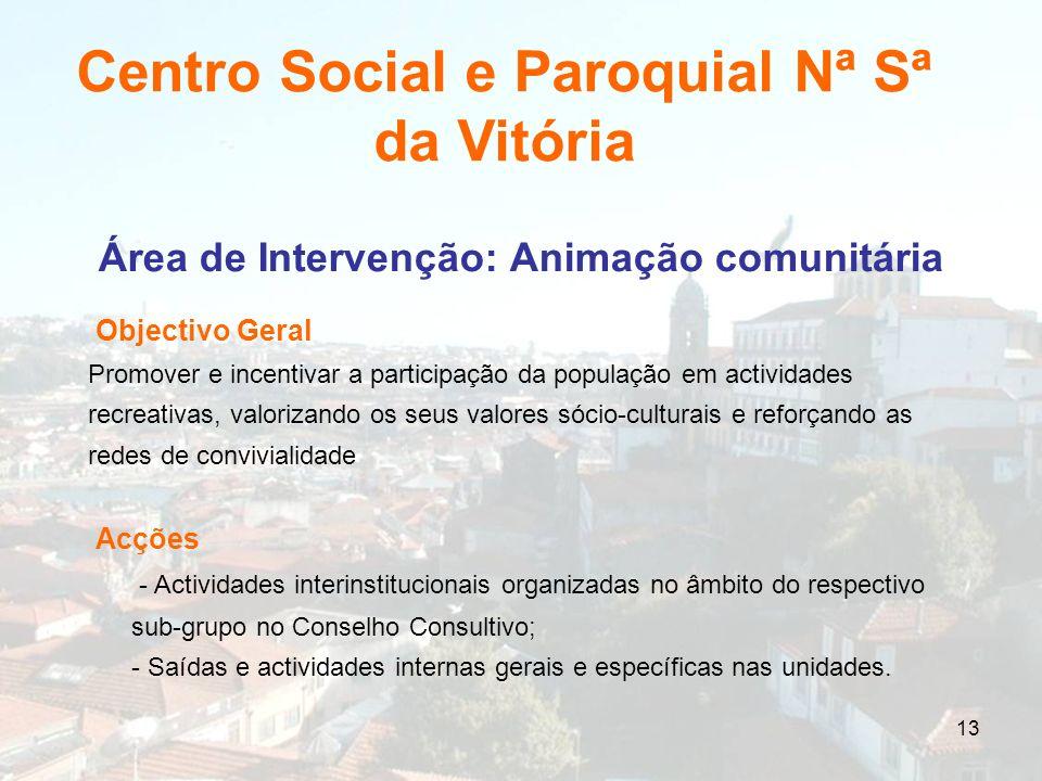 13 Área de Intervenção: Animação comunitária Objectivo Geral Promover e incentivar a participação da população em actividades recreativas, valorizando