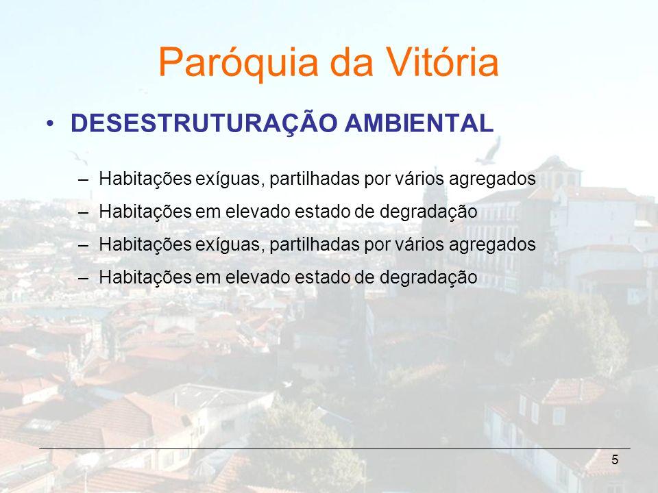 5 Paróquia da Vitória DESESTRUTURAÇÃO AMBIENTAL –Habitações exíguas, partilhadas por vários agregados –Habitações em elevado estado de degradação –Hab
