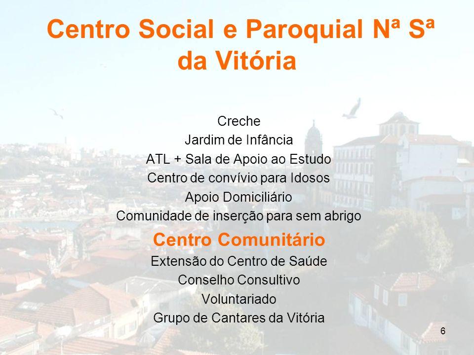 6 Centro Social e Paroquial Nª Sª da Vitória Creche Jardim de Infância ATL + Sala de Apoio ao Estudo Centro de convívio para Idosos Apoio Domiciliário