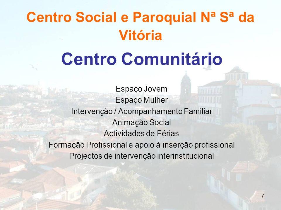 7 Centro Social e Paroquial Nª Sª da Vitória Centro Comunitário Espaço Jovem Espaço Mulher Intervenção / Acompanhamento Familiar Animação Social Activ