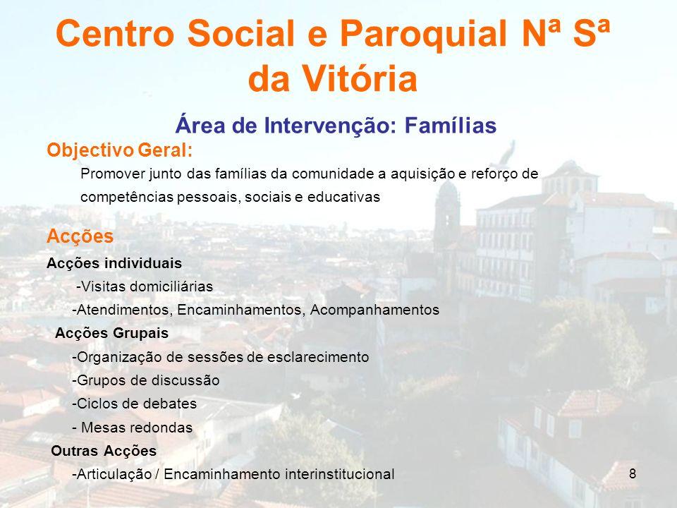 8 Centro Social e Paroquial Nª Sª da Vitória Área de Intervenção: Famílias Objectivo Geral: Promover junto das famílias da comunidade a aquisição e re