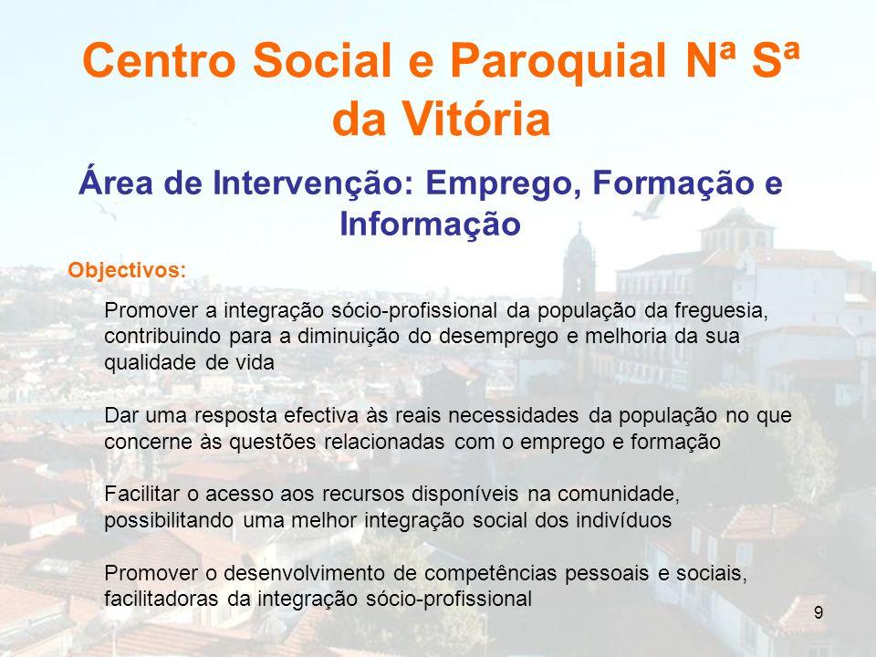 9 Área de Intervenção: Emprego, Formação e Informação Objectivos: Promover a integração sócio-profissional da população da freguesia, contribuindo par
