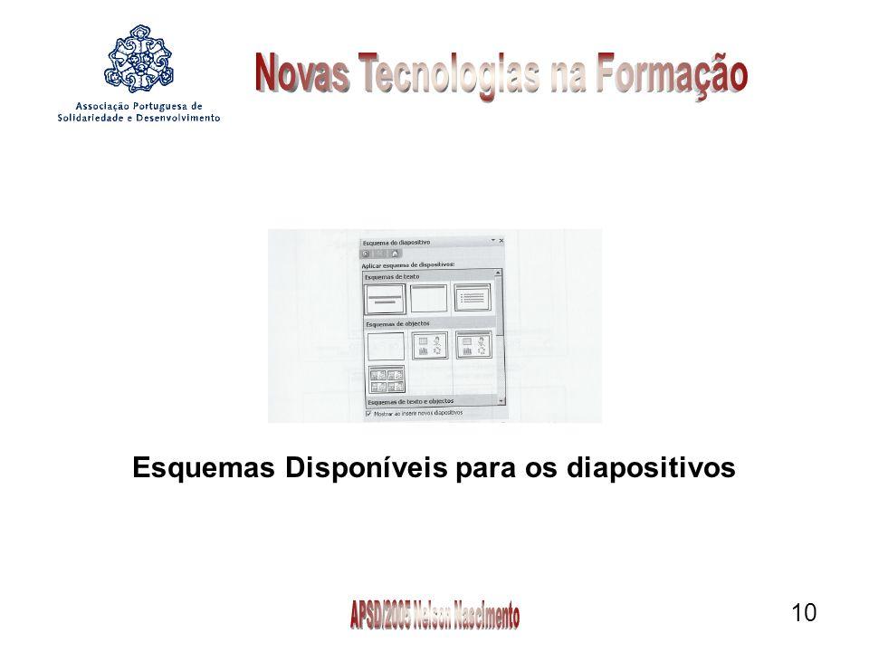 10 Esquemas Disponíveis para os diapositivos