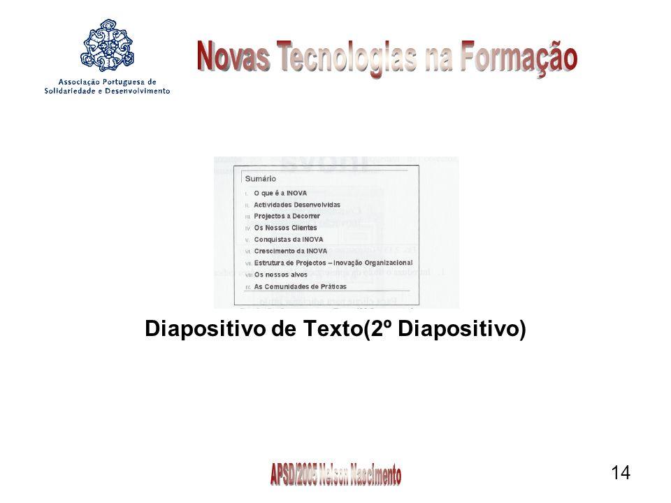14 Diapositivo de Texto(2º Diapositivo)