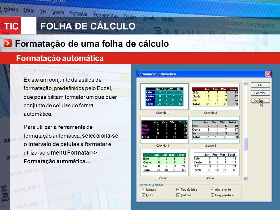 TIC 10FOLHA DE CÁLCULO Formatação de uma folha de cálculo Formatação automática Existe um conjunto de estilos de formatação, predefinidos pelo Excel, que possibilitam formatar um qualquer conjunto de células de forma automática.
