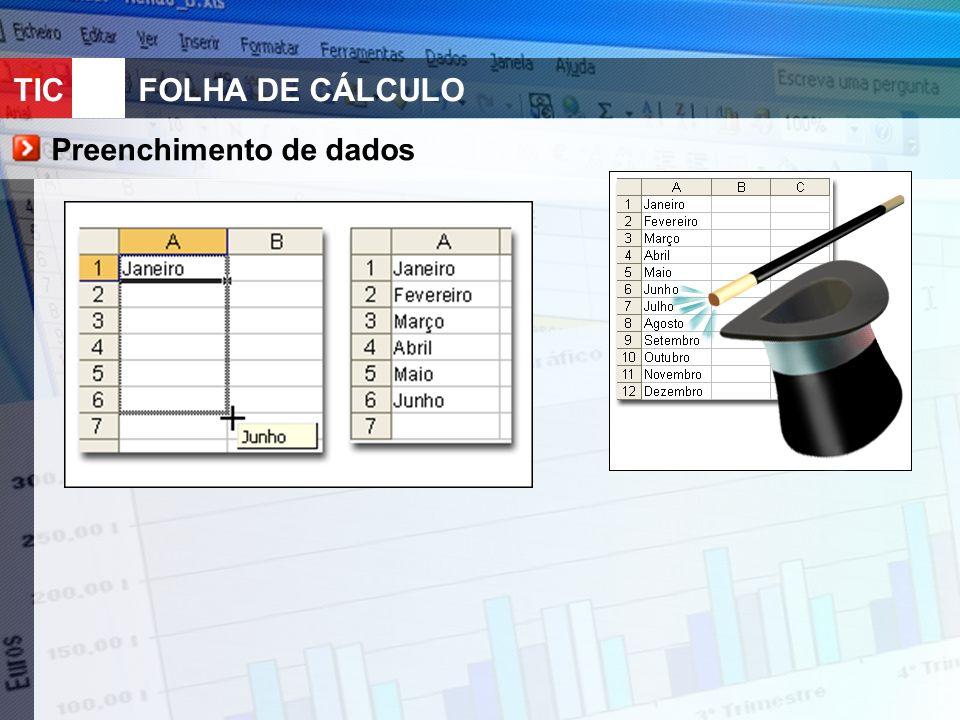 TIC 10FOLHA DE CÁLCULO Preenchimento de dados