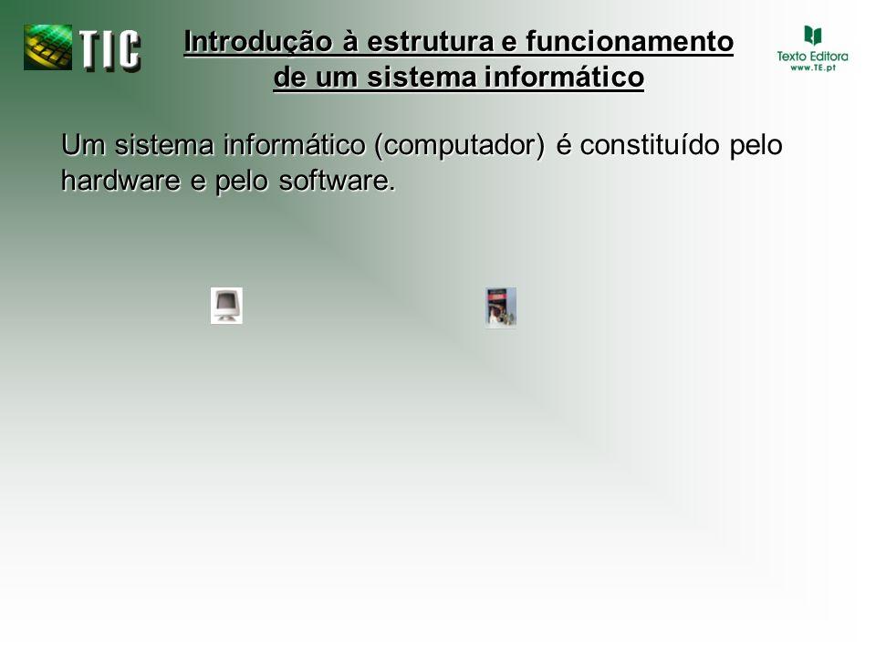 Um sistema informático (computador) é constituído pelo hardware e pelo software. Introdução à estrutura e funcionamento de um sistema informático
