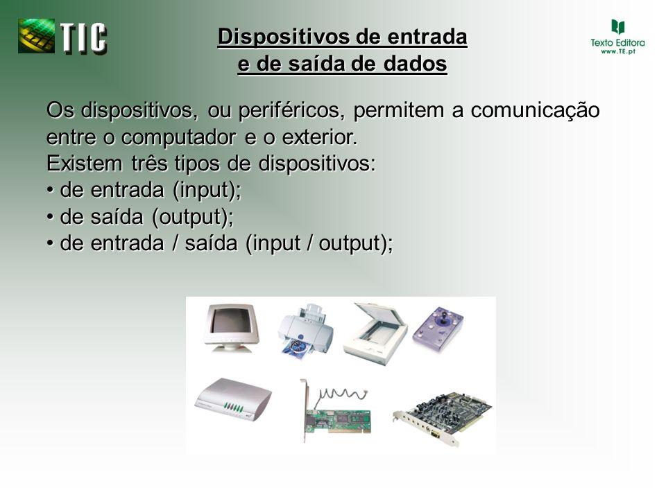 Os dispositivos, ou periféricos, permitem a comunicação entre o computador e o exterior. Existem três tipos de dispositivos: de entrada (input); de en