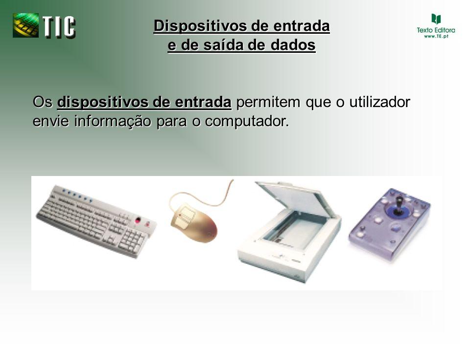 Os dispositivos de entrada permitem que o utilizador envie informação para o computador.