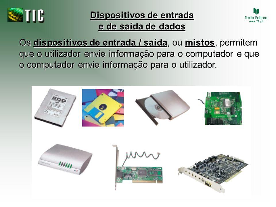 Dispositivos de entrada e de saída de dados Os dispositivos de entrada / saída, ou mistos, permitem que o utilizador envie informação para o computado